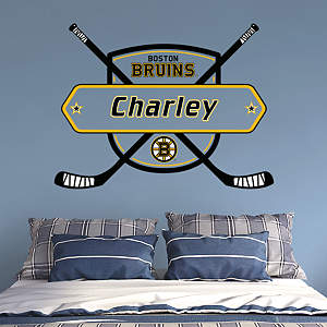 Personalized names monograms fathead wall art decor Bruins room decor