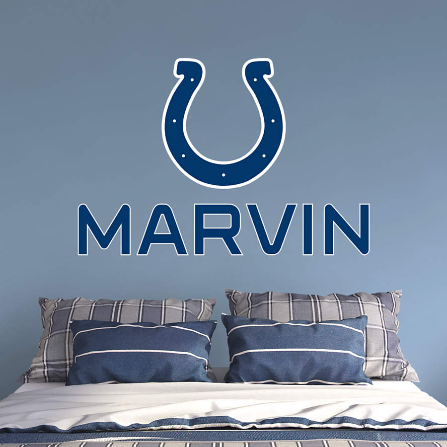 Indianapolis colts stacked personalized name wall decal for Colts bedroom ideas