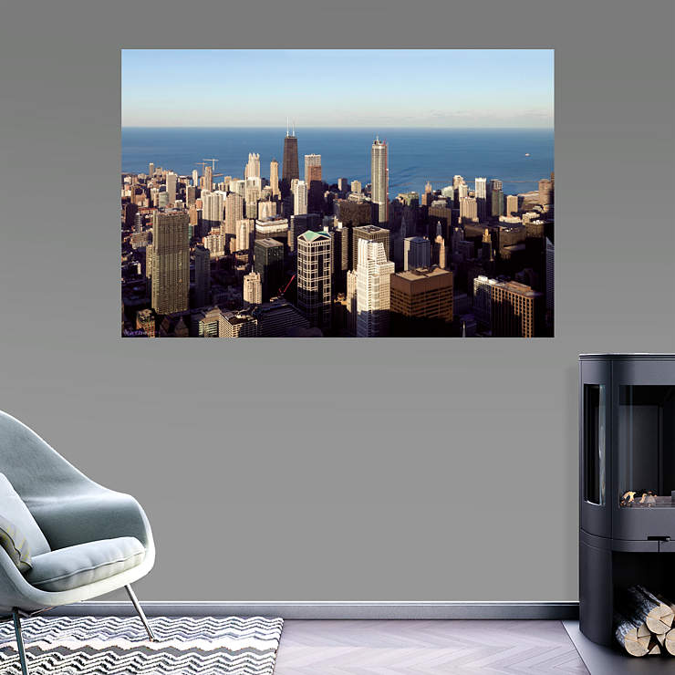 Chicago skyline mural wall decal shop fathead for for Chicago wall mural