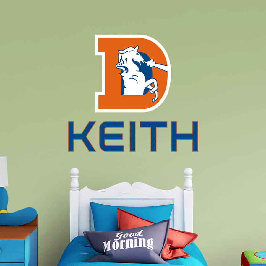 Denver Broncos Throwback Personalized Name Wall Decal