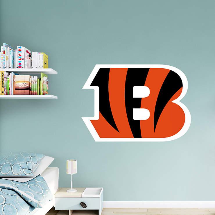 Cincinnati bengals b logo wall decal shop fathead for for Bengals bedroom ideas
