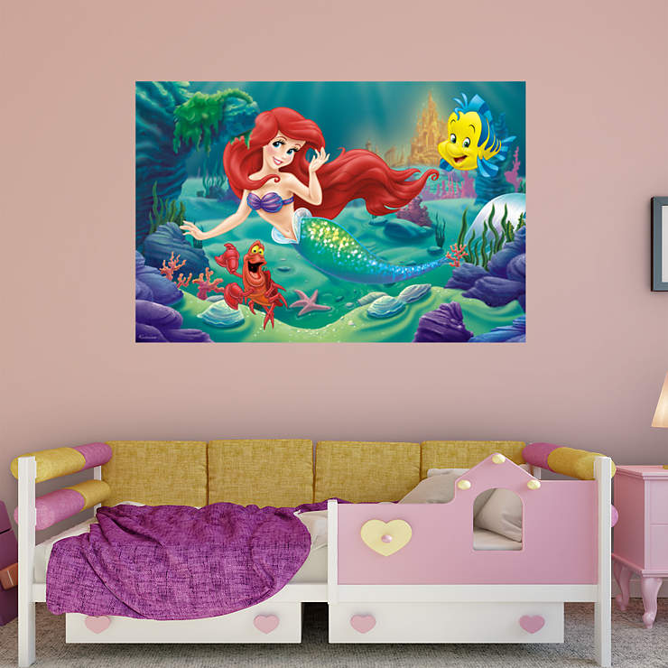 The little mermaid mural wall decal shop fathead for for Disney princess mural asda