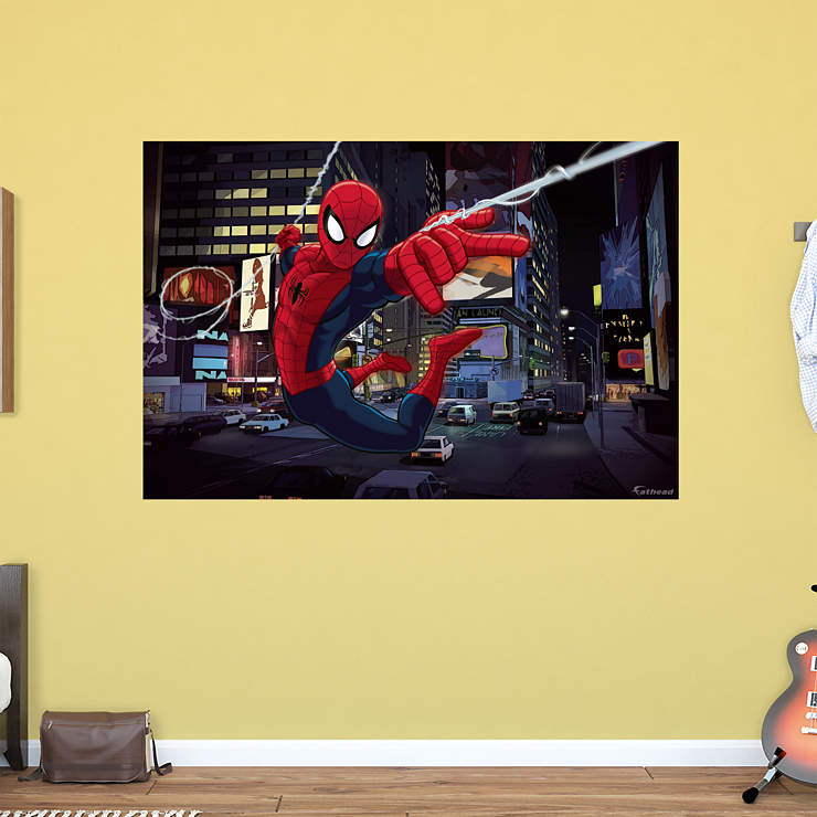 Ultimate spider man mural wall decal shop fathead for - Poster mural spiderman ...