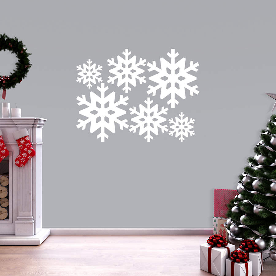 snowflake collection wall decal shop fathead for snowflakes decor. Black Bedroom Furniture Sets. Home Design Ideas