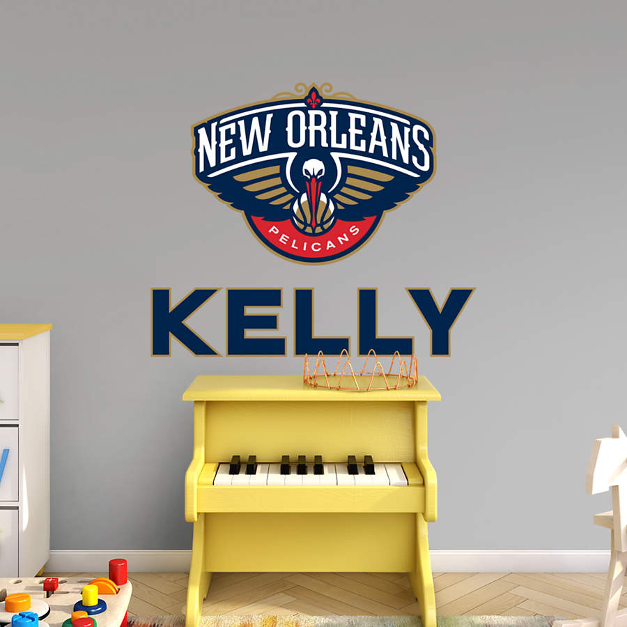 New Orleans Pelicans Stacked Personalized Name Wall Decal
