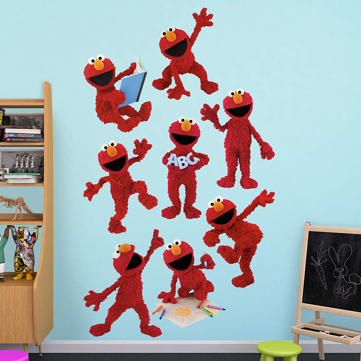 elmo collection wall decal shop fathead for sesame street decor. Black Bedroom Furniture Sets. Home Design Ideas