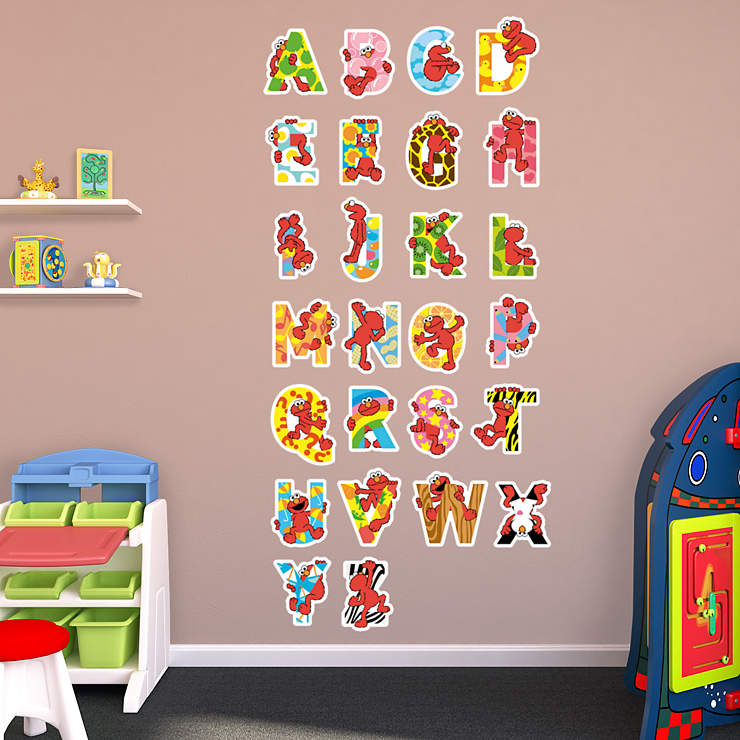 Elmo illustrated alphabet collection wall decal shop for Elmo wall mural