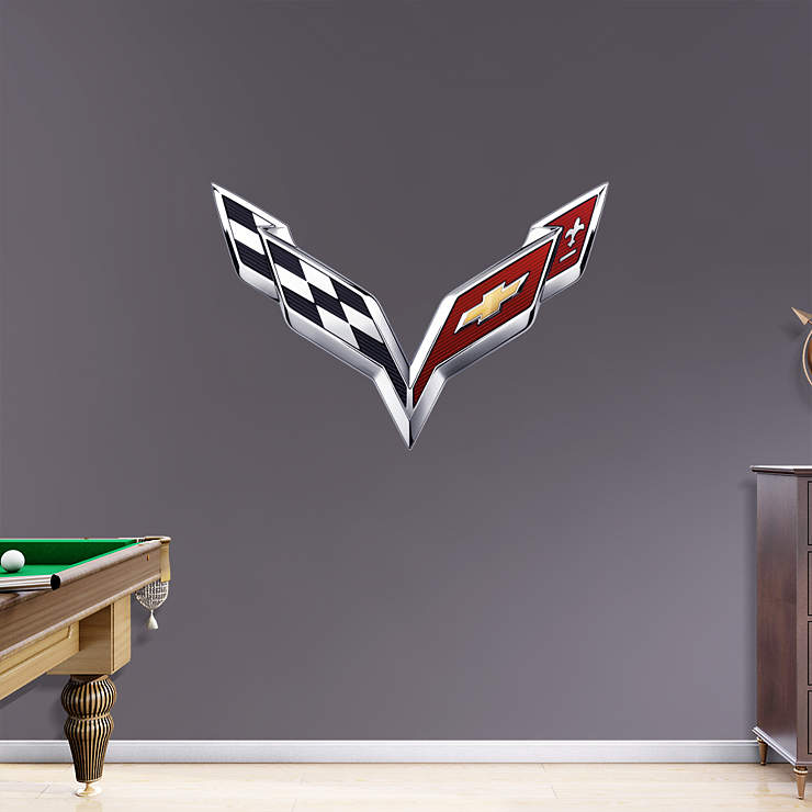 Corvette Crossed Flags Wall Decal | Shop Fathead® for General Motors Decor