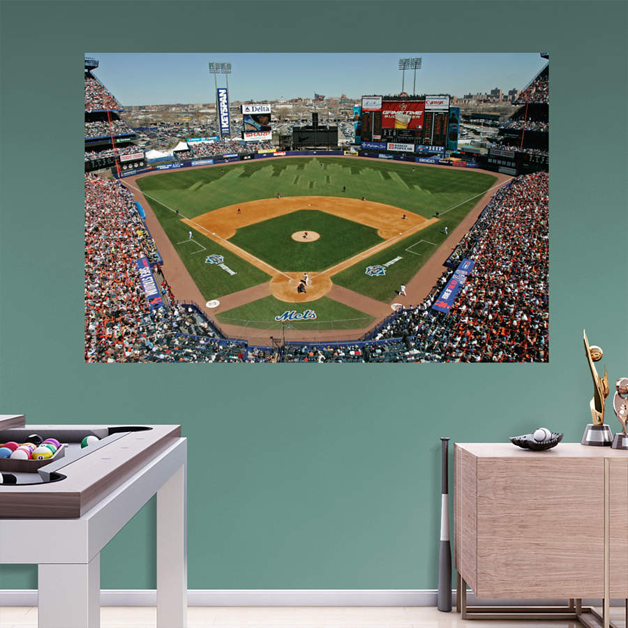 Inside shea stadium mural wall decal shop fathead for for Baseball stadium mural