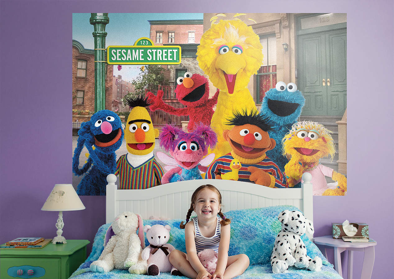 Sesame street group mural wall decal shop fathead for for Elmo wall mural