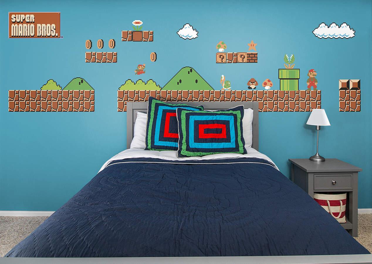 nes super mario bros theme wall decal shop fathead for mario decor. Black Bedroom Furniture Sets. Home Design Ideas