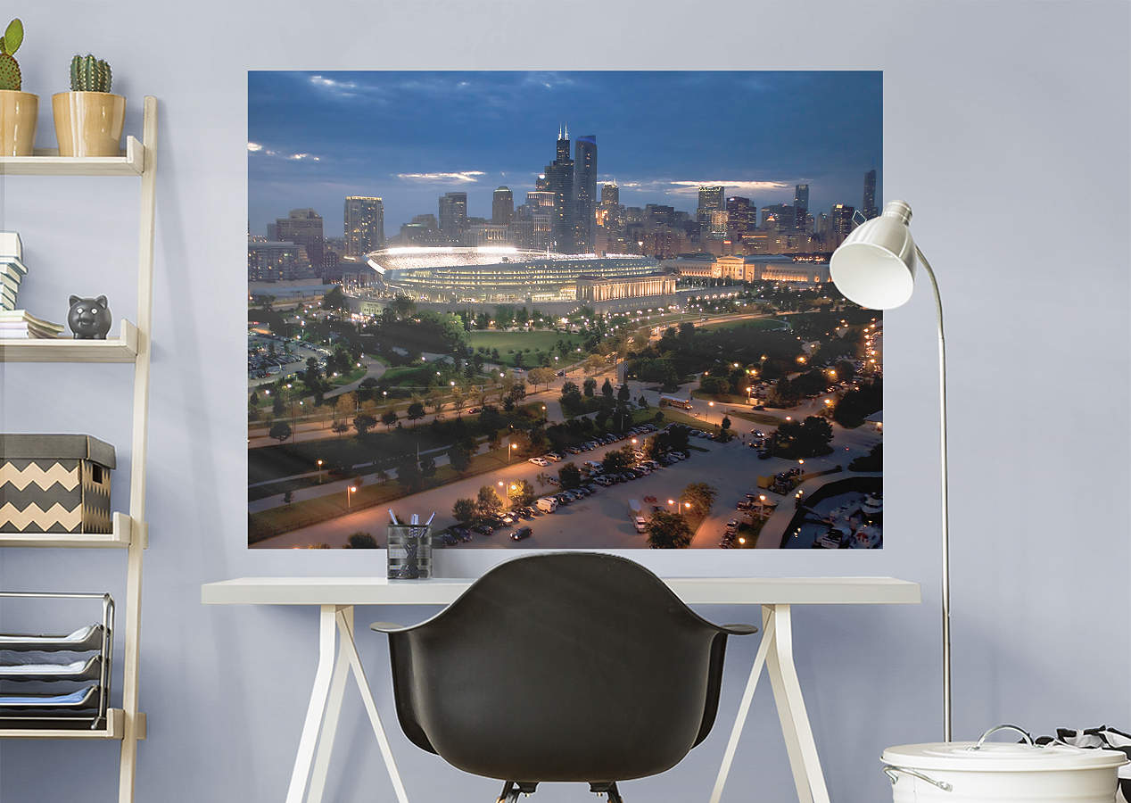 Chicago bears skyline stadium mural wall decal shop for Chicago skyline wall mural