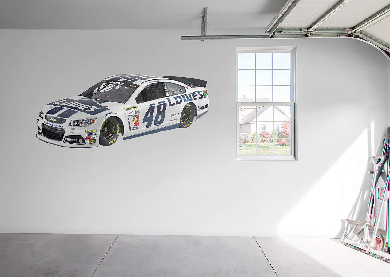 Nascar Coming Through Wall Peel Stick Mini Mural: Jimmie Johnson #48 Lowe's Car Wall Decal