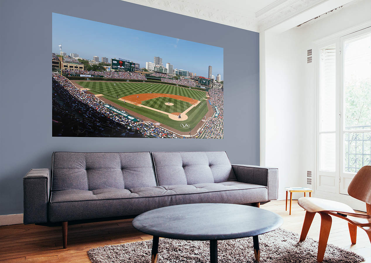 Chicago cubs wrigley field mural wall decal shop fathead for Chicago wall mural