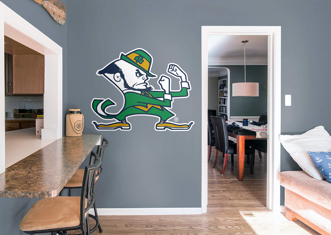Notre dame fighting irish leprechaun logo wall decal for Notre dame home decor