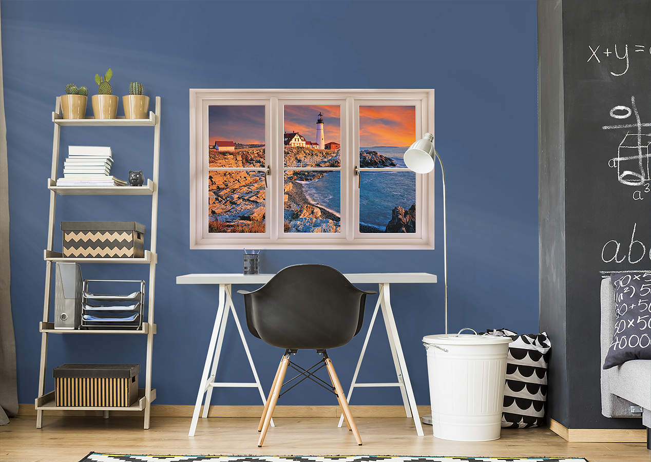 Portland Maine Lighthouse Instant Window Wall Decal