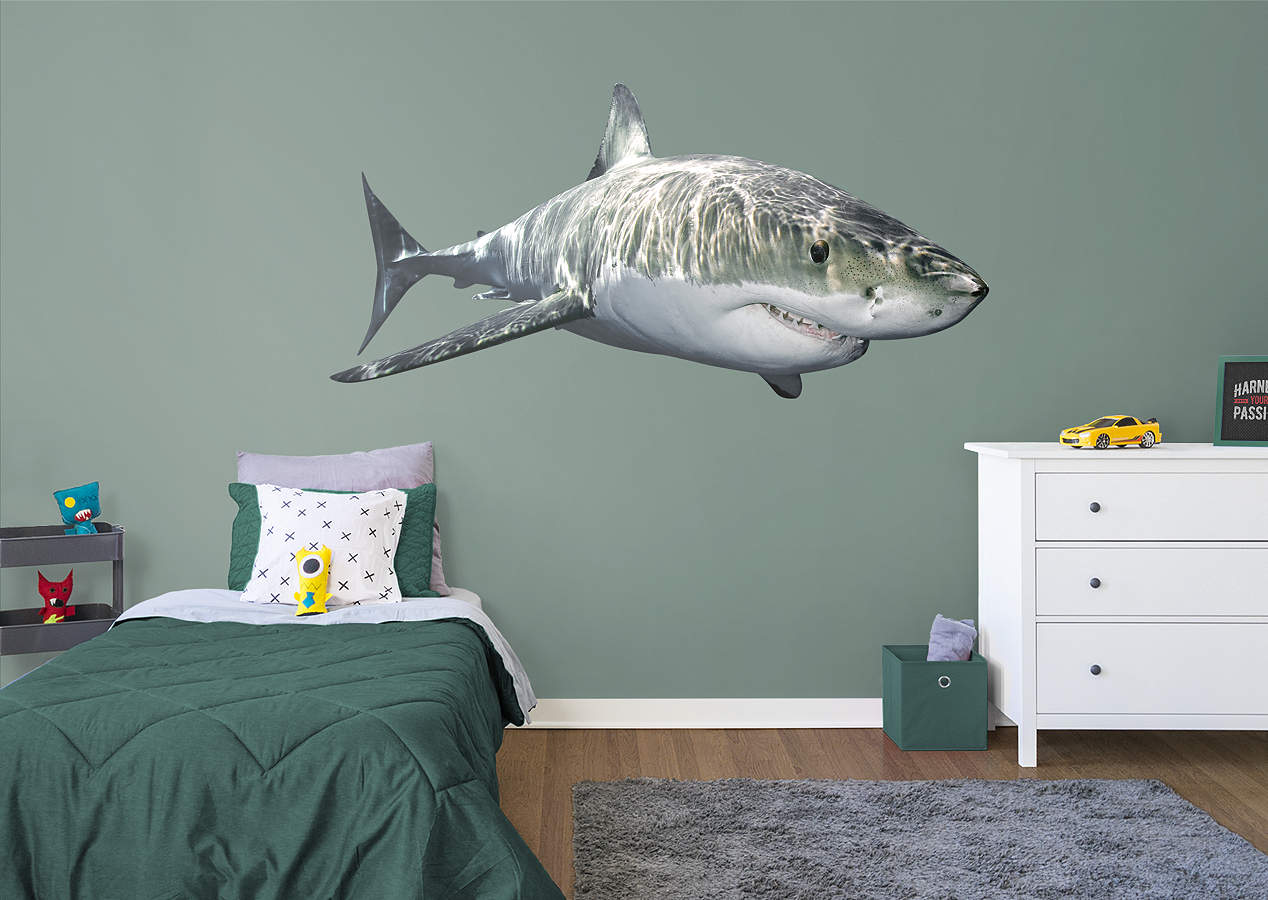 great white shark wall decal shop fathead for general animal graphics decor. Black Bedroom Furniture Sets. Home Design Ideas