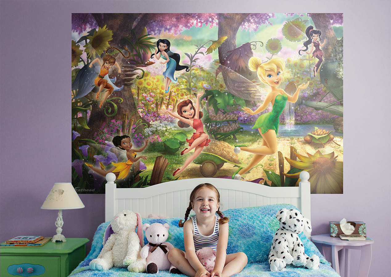 Disney fairies mural wall decal shop fathead for disney for Disney wall mural