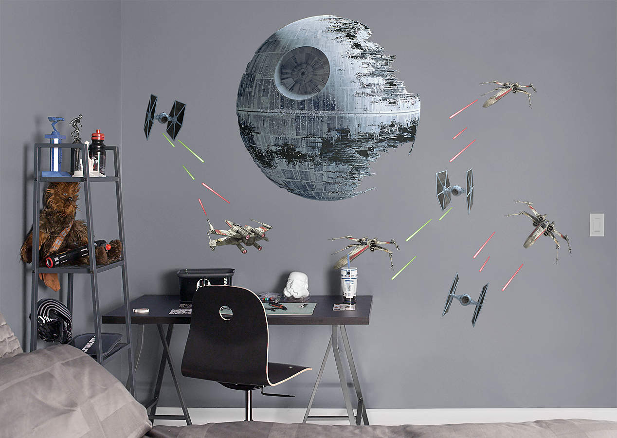 Death star battle wall decal shop fathead for star wars for Death star wall mural