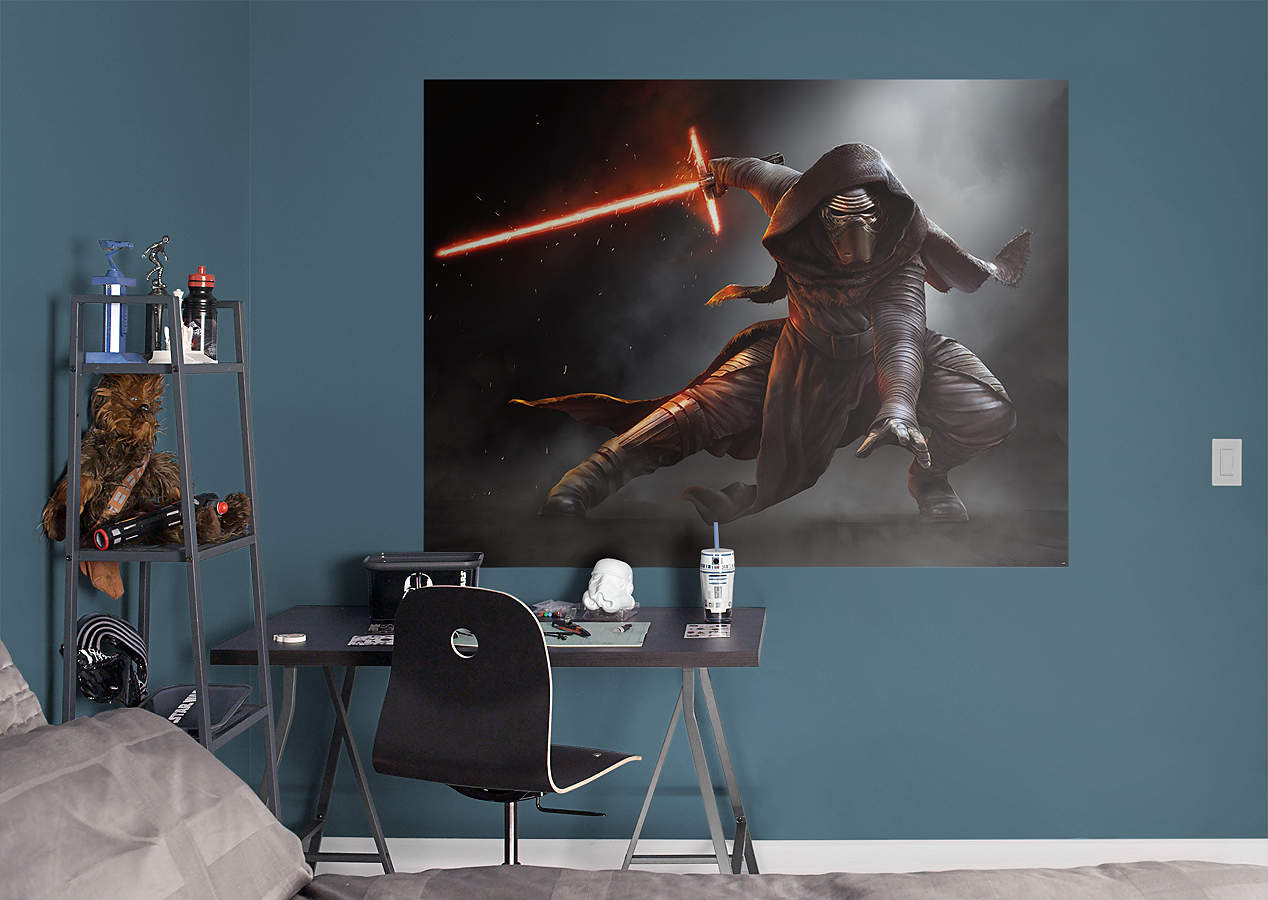 Kylo ren mural wall decal shop fathead for star wars for Mural star wars