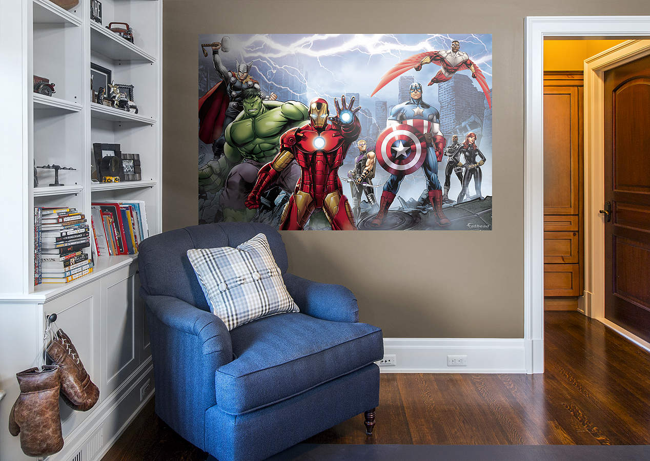 Avengers assemble mural wall decal shop fathead for for Avengers wall mural