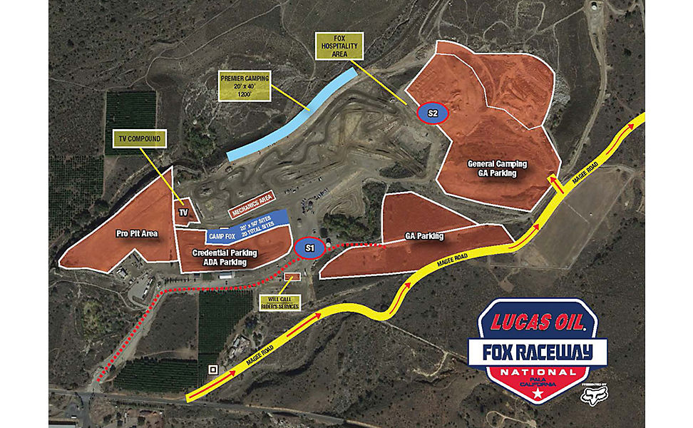 Map of the 2019 Fox Raceway National at Pala, California