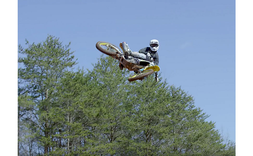 Chad Reed on this dirt bike and wearing Fox V3 Helmet