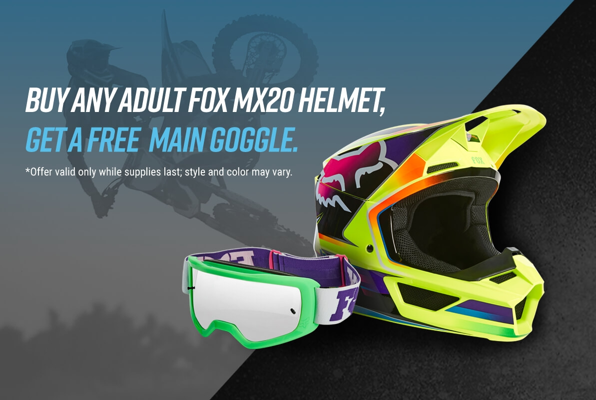 Buy any MX20 Goggle and get a Free Main Goggle