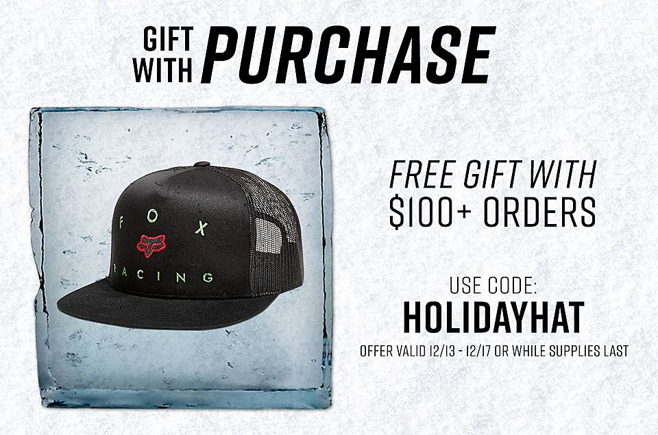 Free Hat with every purchase over $100