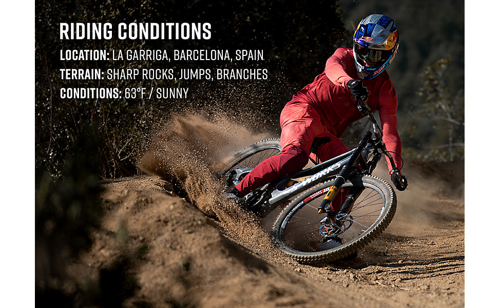 List of the mountain bike riding condition Loic Bruni rode in during the video