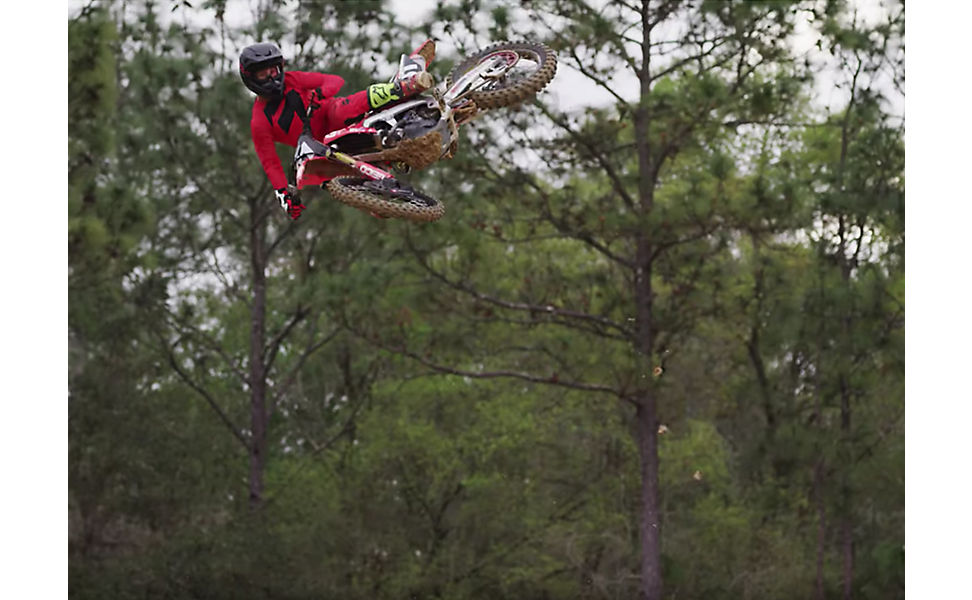 RJ Hampshire on this dirt bike and wearing Fox V3 Helmet