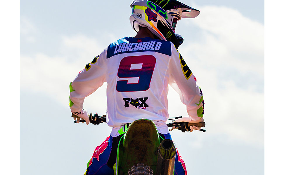 Adam Cianciarulo sitting on his bike while wearing the castr racewear
