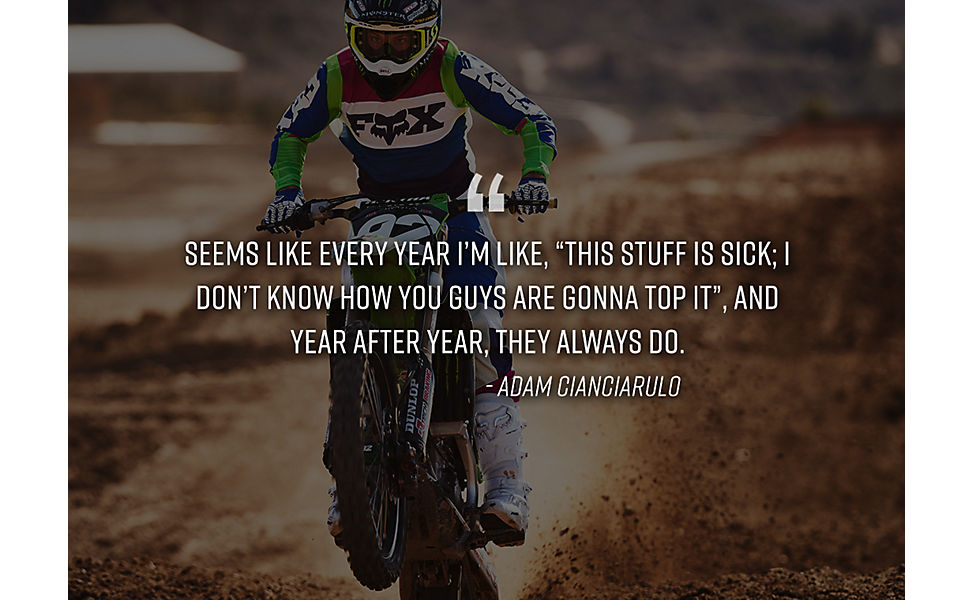 Adam Cianciarulo riding his dirt bike in MX20 racewear.