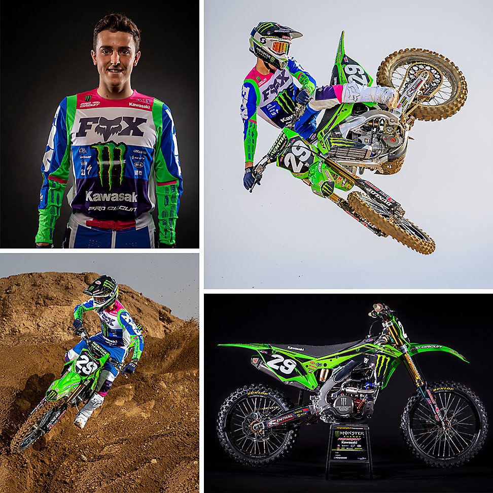 Four images: Two Cameron McAdoo action images, one portrait of Cameron McAdoo, and one image of his 2020 KX™ 250.