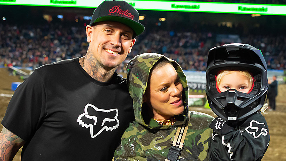 Carey Hart and Pink with their kid Jameson Hart at A2