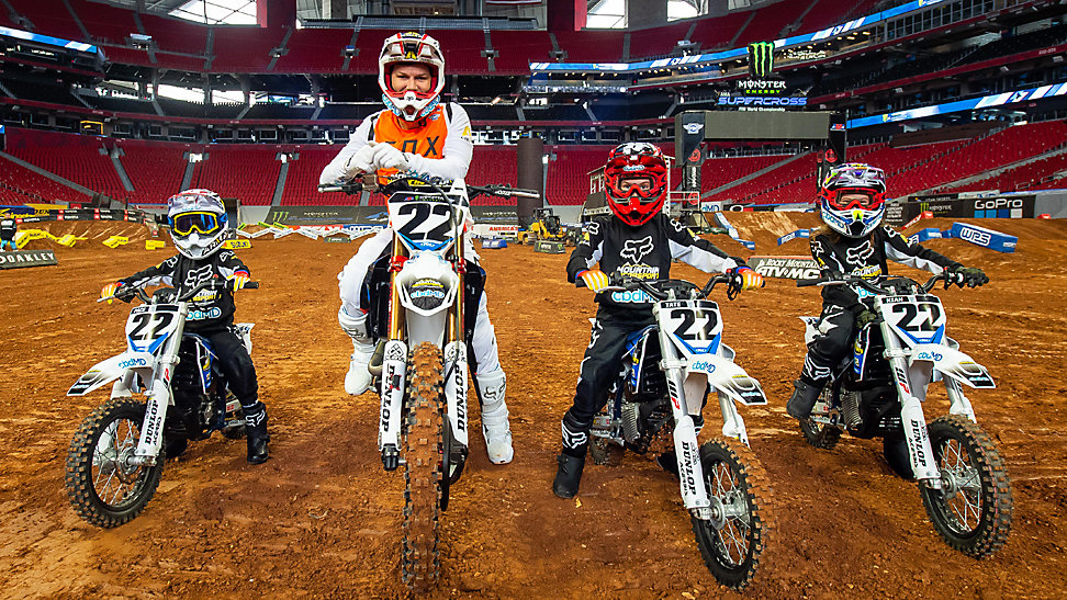 Chad and family on their dirt bikes at the 2020 Atlanta Supercross