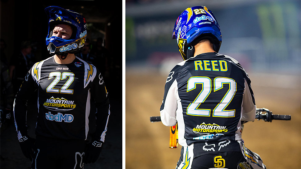 Chad Reed in his special San Diego Chargers gear set.