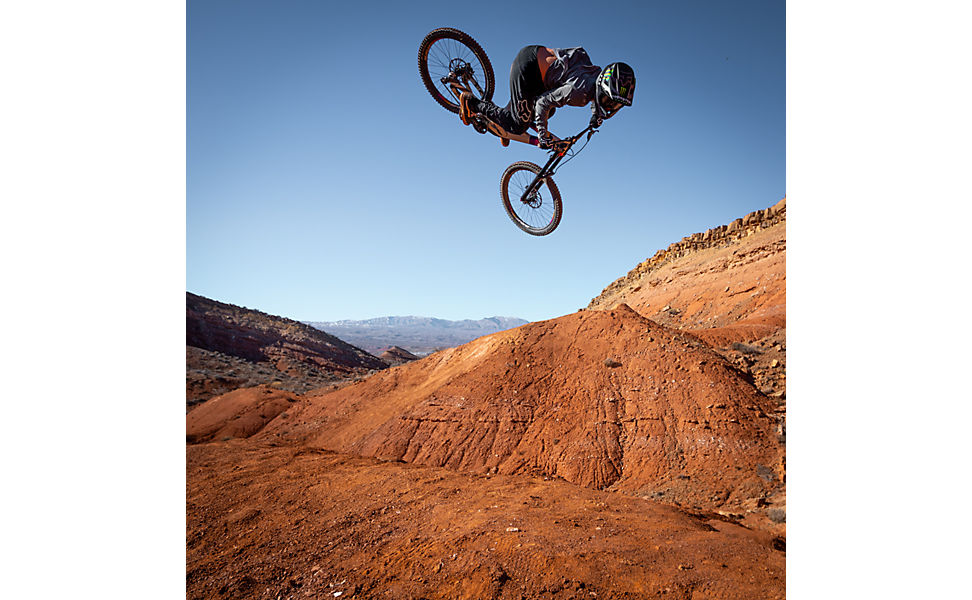 Ethan Nell jumping his mountain bike