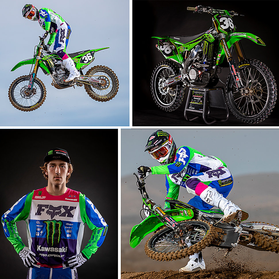 Four images: Two Garrett Marchbanks action images, one portrait of Garrett Marchbanks, and one image of his 2020 KX™ 250.