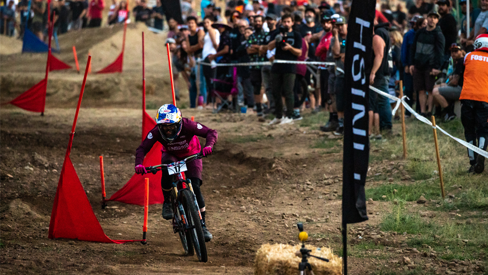 Jill Kintner competing the 2019 US Open of MTB. She is shown riding dual slalom.