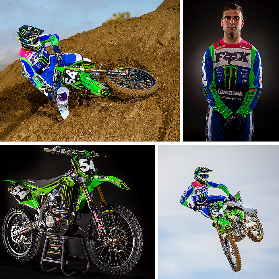 Four images: Two Jordon Smith action images, one portrait of Jordon Smith, and one image of his 2020 KX™ 250.