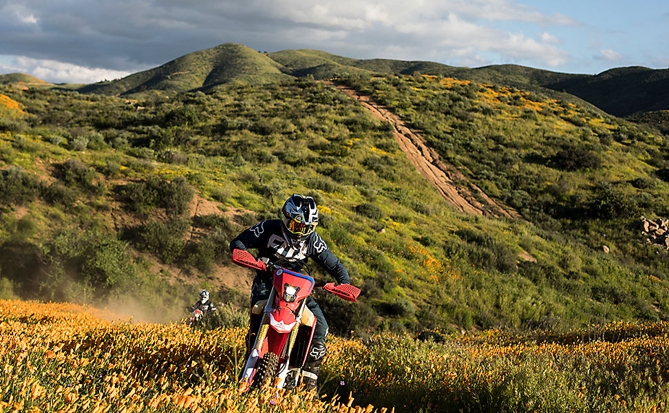 Two dirt bikers riding in the poppy-filled hills of Southern California