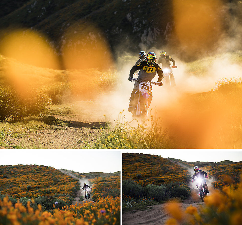 Collage of three photos showing a group of dirt bike riders navigating poppy-filled fields