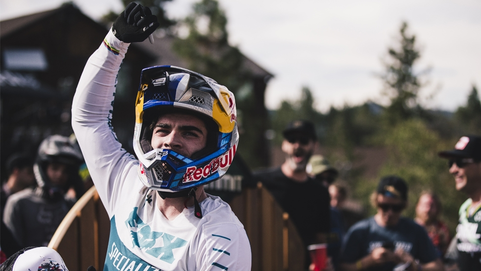 Loic Bruni riding at the 2019 US Open of Mountain Bike. He was the winner in the downhill competition.