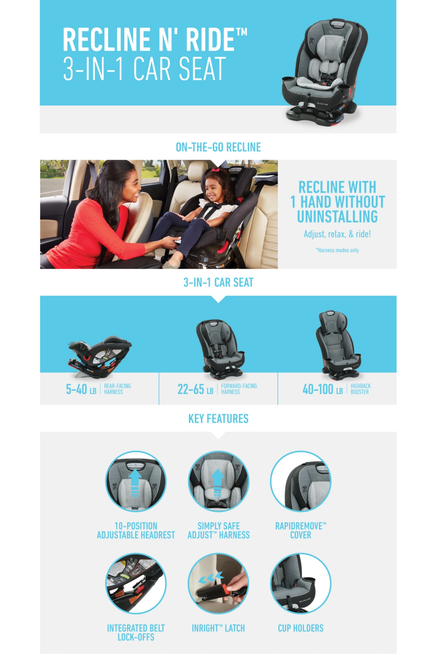 Recline'N Ride 3-in-1 CarSeat