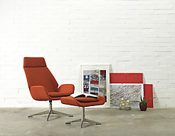 Conexus Upholstered High Back Lounge Chair + Ottoman