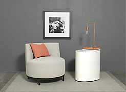 Oval Egg Table with Encircle Lounge Chair