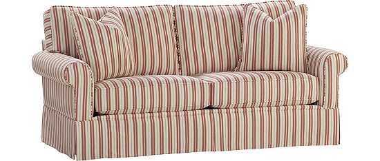 Red Striped Sofa Ian Mankin Fabrics For Sofas Beds And