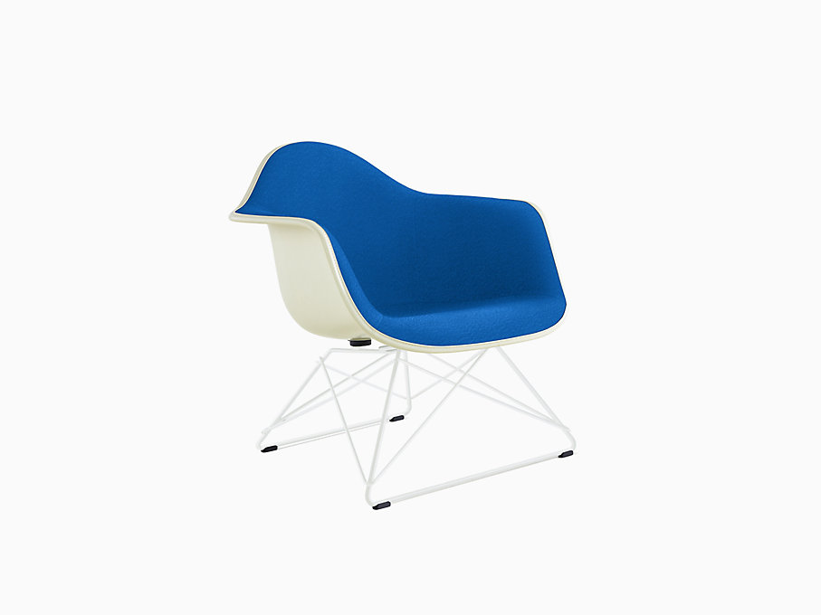 Eames Molded Fiberglass Armchair, Low Wire Base, Upholstered