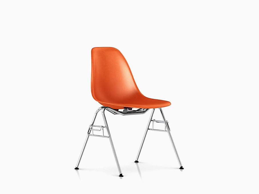 Eames Molded Fiberglass Side Chair, Stacking Base
